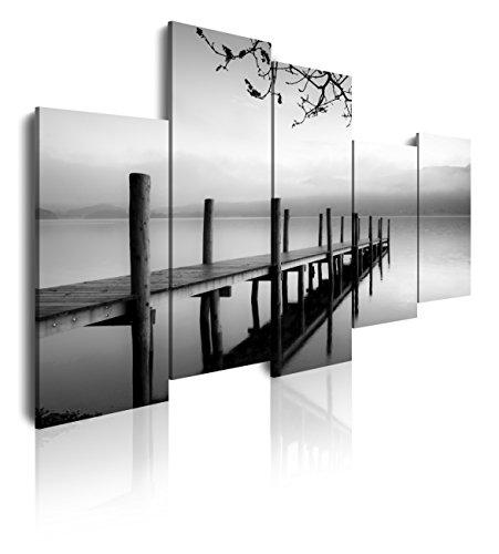 Dekoarte 91 - Cuadro moderno en lienzo 5 piezas paisaje naturaleza embarcadero zen blanco y negro, 150x3x100cm