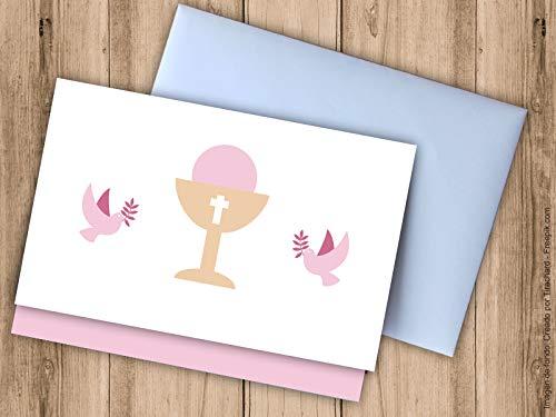 Tarjeta regalar dinero Primera Comunión color rosa