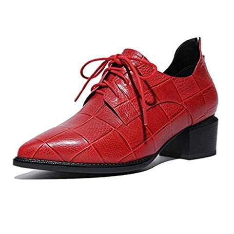 Femmes Dames Nouveautés Chaussures Chaussures Rough Low Mid Heel Pointed Toe Strappy Genuine Leather Fall Winter Party Travail , Red , EUR 39/ UK 6-6.5