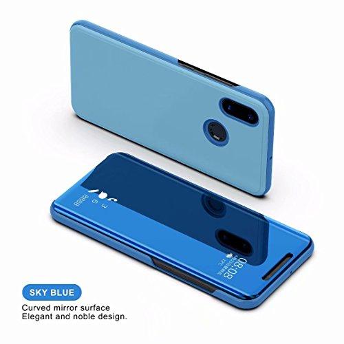 Xiaomi Mi 8 Funda Espejo Flip Case,Vista Inteligente Cover para Xiaomi Mi 8(Azul)