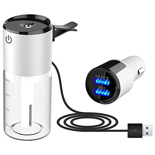 MIGHTYDUTY - Diffuseur d'huiles essentielles de Voiture Portable - Humidificateur d'air à Faible Bruit - avec Chargeur...
