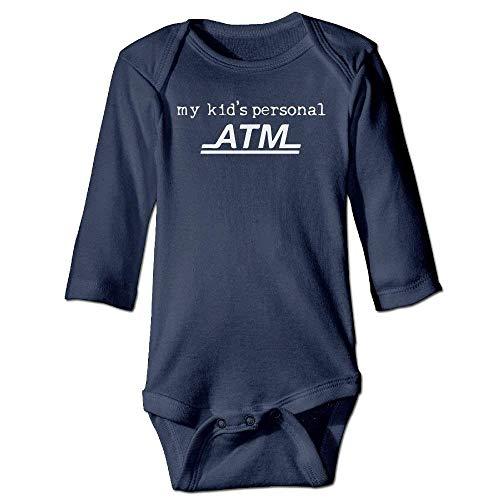 VTXWL Unisex Infant Bodysuits My Kid's Personal ATM Boys Babysuit Long Sleeve Jumpsuit Sunsuit Outfit Navy