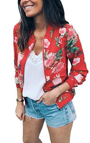 ECOWISH Damen Casual Jacke Blumenmuster Langarm Bomberjacke Reißverschluss Stehkragen Outwear Kurz Coat Herbst Frühling Rot S