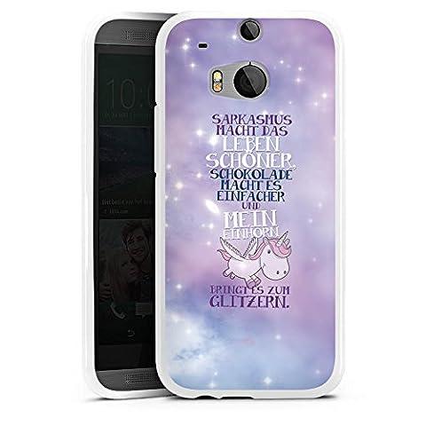 HTC One M8 Silikon Hülle Case Schutzhülle Einhorn Unicorn Sprüche