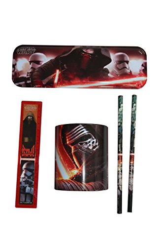 SET PAPETERIE STAR WARS 5 PIECES TROUSSE METALIQUE + POT A RAYON + REGLE + 2 CRAYONS PAPIER DISNEY SCOLAIRE