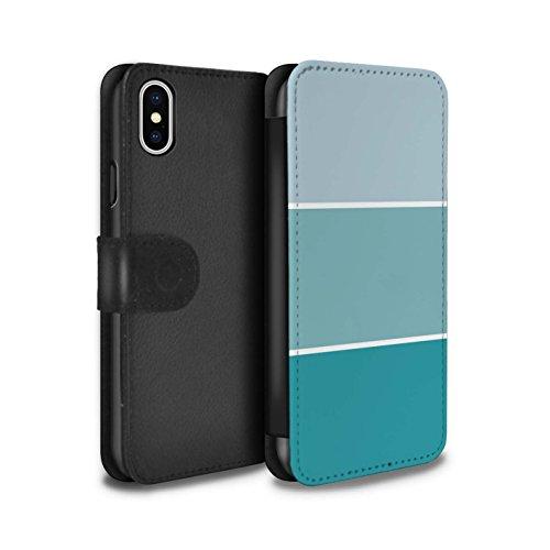 Stuff4 Coque/Etui/Housse Cuir PU Case/Cover pour Apple iPhone X/10 / Pack 10pcs Design / Tons de Couleur Pastel Collection Turquoise