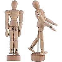 KURTZY 2 Piezas Maniquí dibujo - Maniquí Humano de Madera para Dibujo y Pintura 30.48 cm - Maniqui artistic con base y cuerpo flexible
