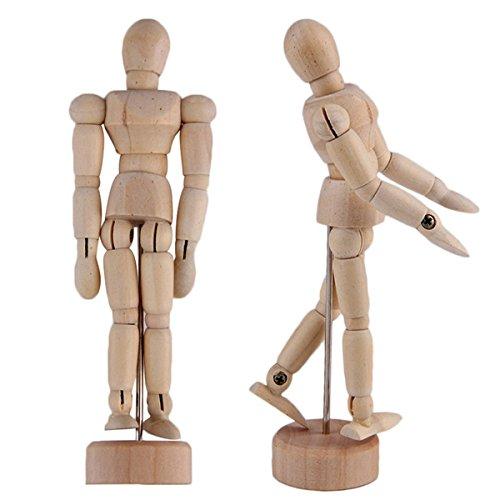 KURTZY 2 Pcs Hölzerne Mannequins - 30,48cm Menschliche Gliederpuppe aus Holz - Posierbare Modellpuppe mit Ständer - Holzpuppe, Zeichenpuppe, Modell Puppe, Holzfigur Zeichnen - Hölzerne Künstlerpuppe für Kunst / Körper Zeichnung