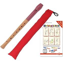 Classic Cantabile Pivella Set, flauta dulce rojo, digitación alemana con bolsa y curso para flauta