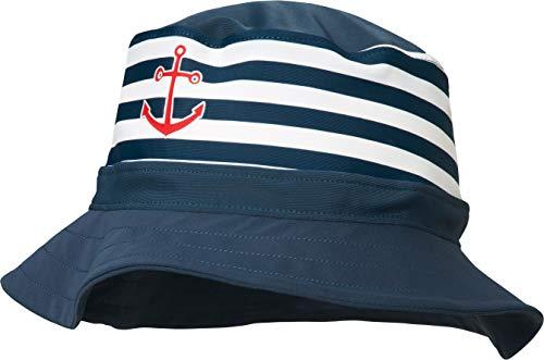 Playshoes Jungen UV-Schutz Fischerhut, Bademütze Maritim Mütze, Blau (Marine/Weiß 171), 51 (Herstellergröße: 51cm)