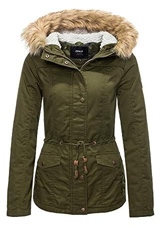 ONLY Damen Onlkate Canvas Parka Jacket Otw Grau (Peat Peat), 36 (Herstellergröße: S)