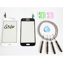 JRLinco ParaSamsung Galaxy Core Prime G360 Pantalla de Cristal Táctil, Pieza de Recambio touchscreen glass display(Sin LCD) Para Blanco + Herramientas y Adhesivo de Doble Cara + Limpiador de Alcohol.