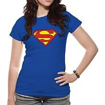 superman t shirt damen blau