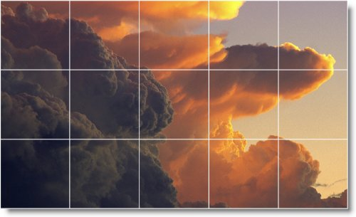 NUBES FOTO DUCHA MURAL DE AZULEJOS C027  24X 40CM CON (15) 8X 8AZULEJOS DE CERAMICA
