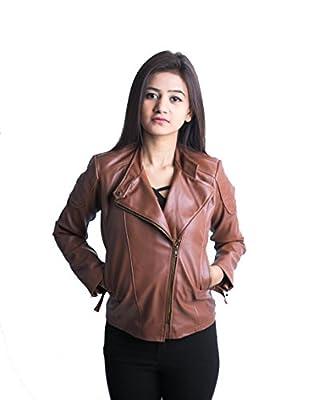 Mozaan Women's Brown Side Zipper Leather Jacket