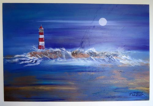 Atelier silwi-art Gemälde 100% handgemalt Leuchtturm Wandbild handmade Acryl-Leinwandbild direkt ab Künstler/by artist Lighthouse -