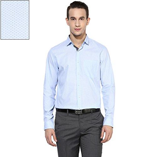 Turtle Men's Sky Blue Floral Print Slim Fit Formal Shirt