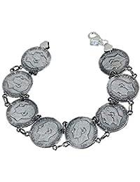 c6b1fe0b4181 Pulsera plata ley 925m lisa monedas continua  AB0019