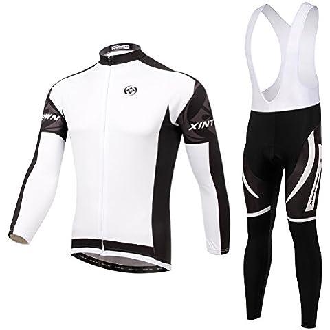 XINTOWN Invierno de los hombres traje de Jersey con mangas largas + ciclismo Bib pantalones Mountain Bike MTB ropa polar cálido viento desgaste de ciclo profesional ,