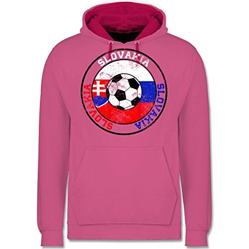 Fußball - Slovakia Kreis & Fußball Vintage - Kontrast Hoodie Rosa/Fuchsia