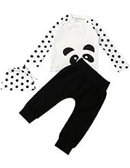 Longra Bébé Garçons Filles Manche longue T-shirt Hauts + Pantalons + Chapeau Vêtements Set
