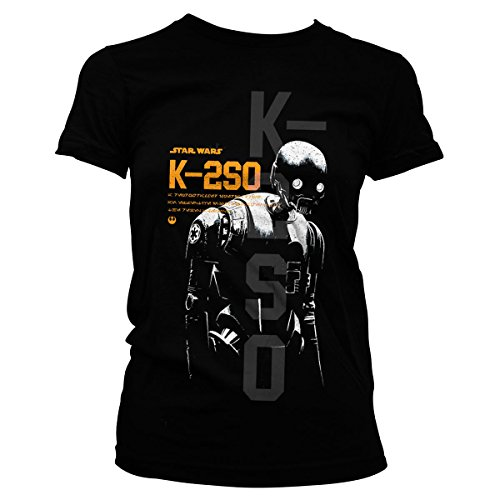 Officially Licensed Merchandise Star Wars Rogue One K-2SO Girly T-Shirt Black