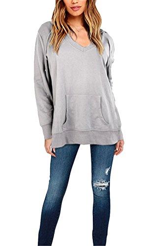 Brinny Sexy Deep Col V Femme Sweatshirt avec Capuche Boyfriend Style Baggy Pullover Hooded Sweats Tops Oversize Gris / Noir Gris