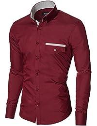 MODERNO Herren Hemd Slim Fit Langarm Button Down Kragen 1 Tasche Streifen Detail (MOD1413LS)