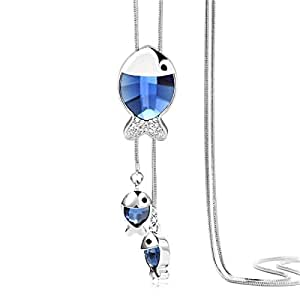 Sansar India Blue Non-Precious Metal Tassel Necklace for Women