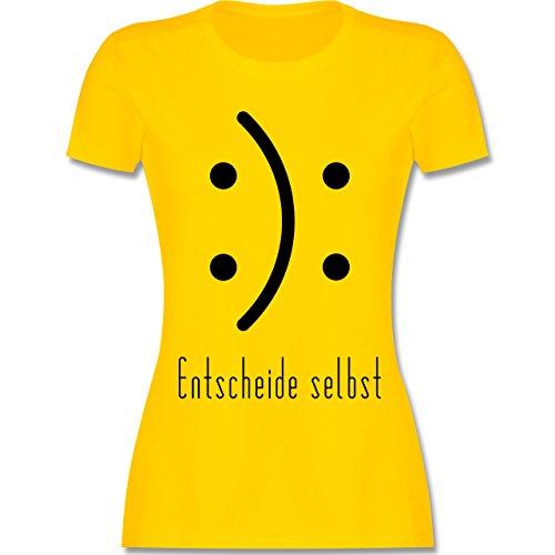 Shirtracer Symbole - Entscheide Selbst Smile - Damen T-Shirt Rundhals Gelb