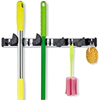 Coolreall Broom Mop Holder, Wall Mounted Organizer Gardening Shed Tool Rack Garage Storage Hanger with 4 Positions 5 Hooks…