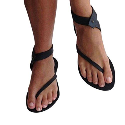 Donna estate scarpe,tacchi donna eleganti,sandali donna bassi,yanhooestate donna donne sandali cinturino caviglia piatto romana scarpe casual perizoma calzature (38=asia 39, nero)