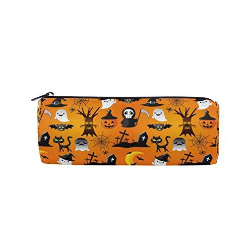 re niedliche nahtlose Muster Cartoon Halloween Bleistift Taschen Runde tragbare Tasche für Schule Kinder Kinder Kosmetiktasche Make-up Beauty Case ()