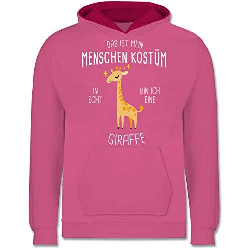 Kostüm Neun Menschen - Shirtracer Karneval & Fasching Kinder - Das ist Mein Menschenkostüm in echt Bin ich eine Giraffe - 9-11 Jahre (140) - Rosa/Fuchsia - JH003K - Kinder Kontrast Hoodie