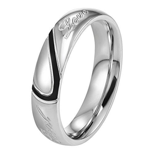 Prosteel anello fede nuziale incisione metà cuore love amore da uomo, acciaio inossidabile, argento nero, da fidanzamento matrimonio anniversario,confezione regalo, us 07 it 14