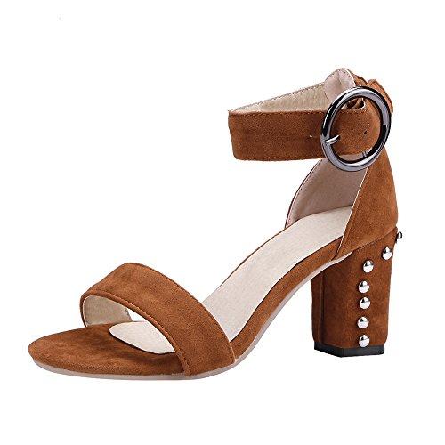 KIKIVA Damen Open Toe Chunky Heels Sandalen mit Riemchen und Blockabsatz 8cm Absatz High Heels Sandaletten Sommer Schuhe (Braun, 40) -