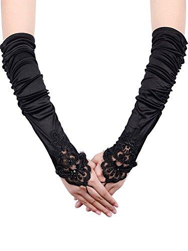 (Fingerlose Handschuhe Spitze Sequins Satin Handschuhe für Party Braut (Schwarz))