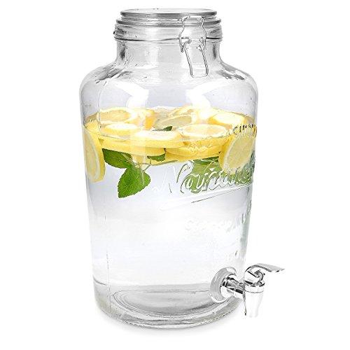 Navaris Getränkespender 8 Liter aus Glas - mit Zapfhahn Deckel und Bügelverschluss - Glasbehälter für warme und kalte Getränke - Wasserspender