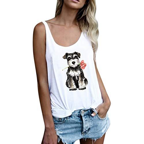 Hanomes Simple Ropa de Mujer Sin Mangas Chaleco Arriba Camisa de Mujer Perro Rosa Imprimiendo Camiseta de Mujer Ocio Suelto jerséis Tops de Mujer