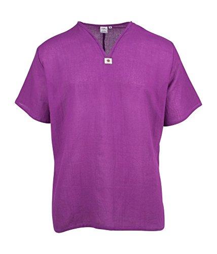 Lofbaz Herren Thai V-Neck T-Shirt Short Sleeve Violett 5XL