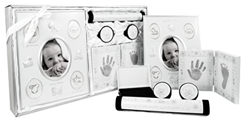 New Baby Unisex Boy Girl Gift 5 Piece Keepsake Set, First Photo Frame, Curl and Tooth Box, Handprint Footprint Prints Kit, Silver White