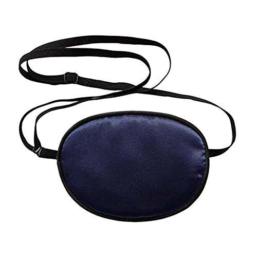 TININNA Erwachsene Piraten-Augenklappe,Seide Augen-Flecken behandeln Lazy Eye / Amblyopie / Strabismus EIN PATCH, Augenmaske Augen Beschattung Ebene für Erwachsene Faule Auge Amblyopie (Marine Blau) (Linkes Auge Kostüm)