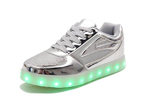 IDEA FRAMES Unisex Enfant 7 Led Colorful Lumière Chaussures Usb Rechargeable Argent