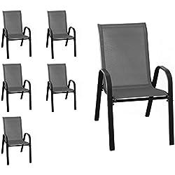 Wohaga® New York Lot de 6 chaises empilables avec revêtement en Tissu Anthracite et Structure en Acier revêtu par pulvérisation Noir