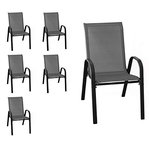 Wohaga New York Lot de 6 chaises empilables avec revêtement en Tissu Anthracite et Structure en Acier revêtu par pulvérisation Noir