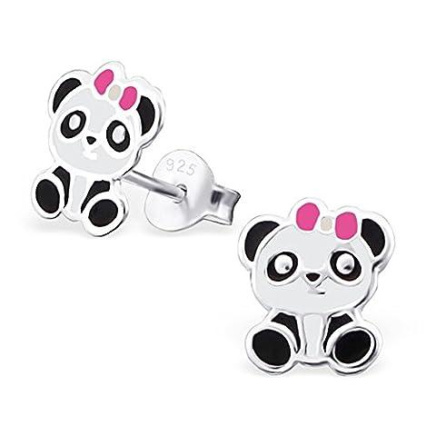 Boucles d'oreilles Panda avec nœud rose–en argent sterling 925