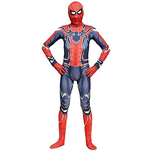 QQWE Spiderman Cosplay Kostüm Bodysuit Erwachsene Kinder Marvel Hero Spandex Jumpsuits Halloween Maskerade Motto Party Kostüm Ganzes Set von Kleidung, A-Kinder