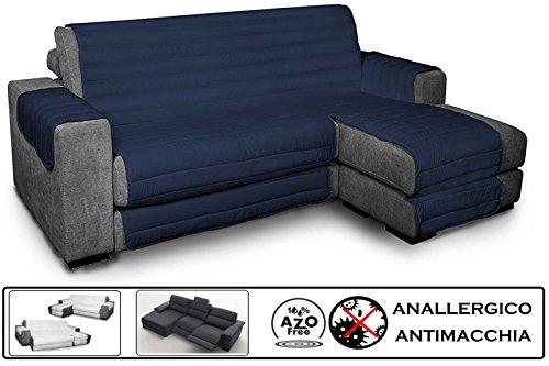 Biancheria&casa copridivano angolare con penisola antimacchia per divano con chaise longue relax : colore - blu, misura - 190 cm.