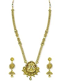 Zaveri Pearls Gold Look Long Temple Necklace Set For Women - ZPFK5275