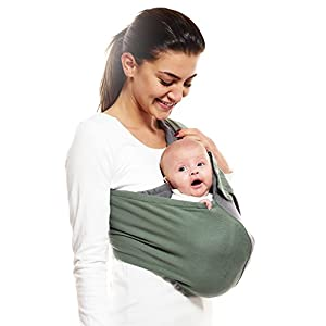 Wallaboo Wrap Sling Carrier Connection, Easy Adjustable, Ergonomic, 3 Carrying Positions, Newborn 8lbs to 33 lbs, Soft Breathable Cotton, 3 Sitting Positions, EU Safety Tested, Color: Green / Grey   5